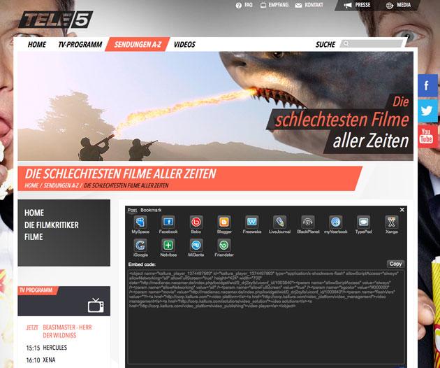 Screenshot: tele5.de