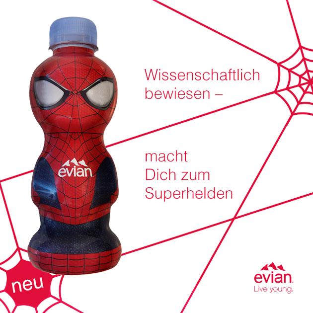 Special-Edition mit nur 5.000 Exemplaren der Evian Spider-Man-Flasche